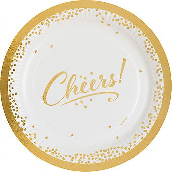 Party signs Cheers! 23 Cm Cardboard White / Gold 8 Pieces 439089