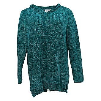 Denim & Co. Frauen's Pullover Chenille V Hals Langarm Tunika grün A373184