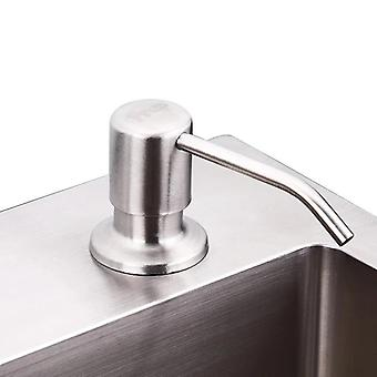 Kitchen Deck Mounted Hand Dispenser - Stainless Steel Liquid Soap Bottle