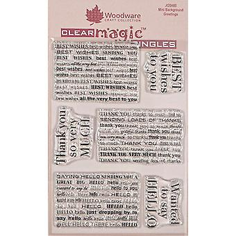 Woodware Clear Singles Mini Brackground Greetings 4 in x 6 in Stamp
