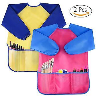 Amaza 2pcs børn kunst forklæder, vandtætte børn 's kunstner maleri kitler med lange ærmer 3 lommer