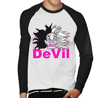 Disney Cruella De Vil Devil Men's Baseball Long Sleeved T-Shirt