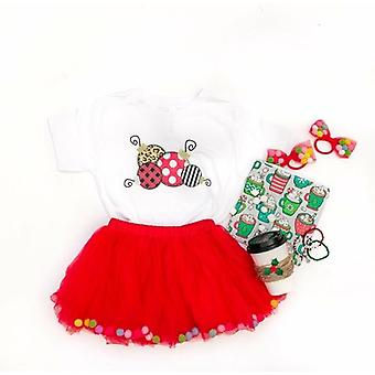 Red Pom Pom Tutu en Bow Hair Tie | 2st Set