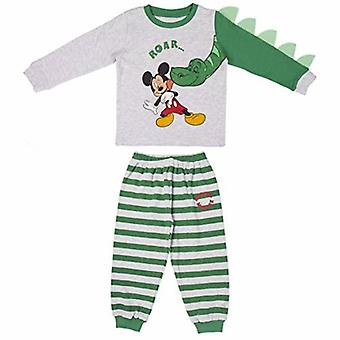 Children's pyjama mickey mouse stripey green trousers