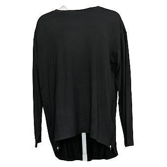 G By Giuliana Women's Top French Terry Side-Zip Hi-Low Tunic Black 730381
