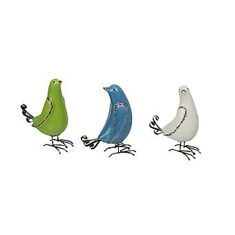 Set of 3 Rustic Green White and Blue Ceramic and Metal Bird Figurines