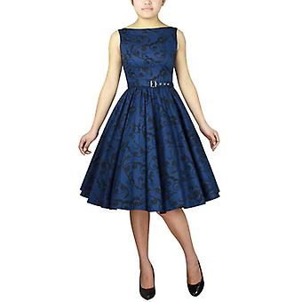 Chic Star Plus Size Printed Sleeveless Belted Dress In Blue