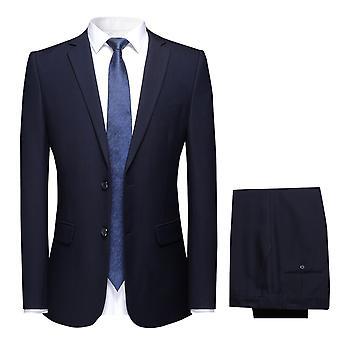 YANGFAN Men's 2-delige Classic Fit Suit Solid Color Single Breasted 2 Knopen Jacket Dress Pant