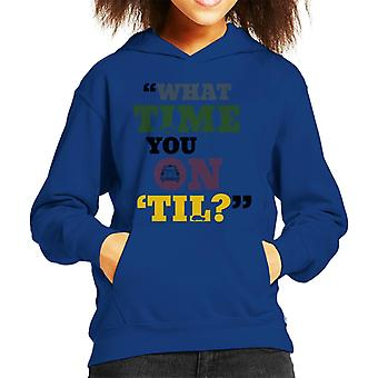 London Taxi Company What Time You On Til Text Kid's Hooded Sweatshirt