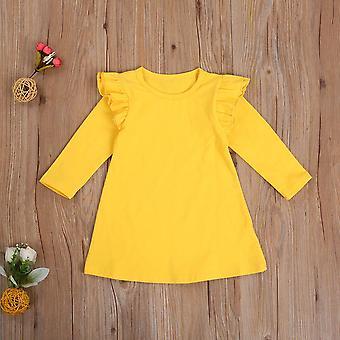One-piece Dress, Long Sleeve Ruffled Shoulder Elegant Dress
