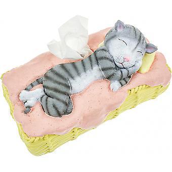 näsdukshållare Kat 26 cm Polyresin rosa/grå