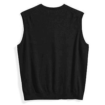 Essentials Men's Big & Tall V-Neck Sweater Vest, Black, 2X Tall