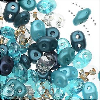 SuperDuo 2-Hole Czech Glass Beads, Caribbean Seas Mix, 2x5mm, 24g Tube
