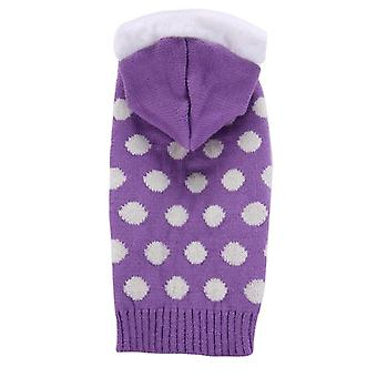 Dog cat clothes purple white dots hooded two-leg sweater teddy golden retriever