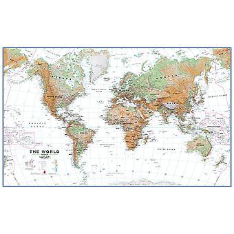 Stor världsväggkarta fysiskt vitt hav (laminerat)
