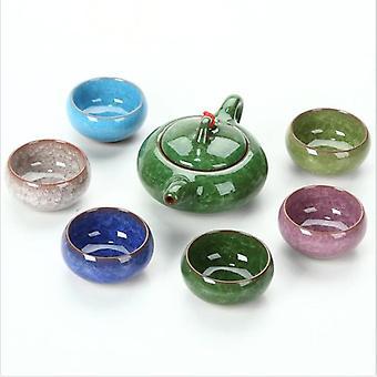 Wholesale Cheap Promotion Tea Gift Sets Kung Fu Tea Set with Teapot Porcelain Handmade Ice Crack Glaze Ceramic Chinese 30 Sets