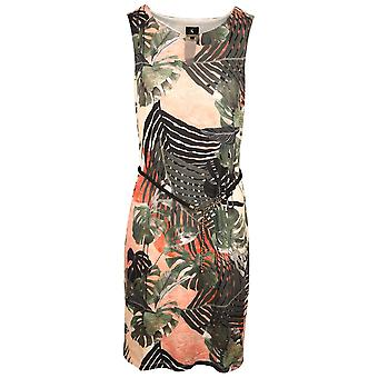 K-design Pink & Green Tropical Palm Print Sleeveless Dress With Contrasting Rope Belt