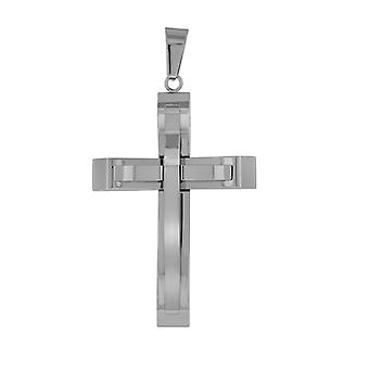 נירוסטה Mens שתי שכבות לחצות קסם דתי תליון שרשרת מידות 34.7mm רחב תכשיטים מתנות לגברים