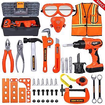 示されているようにibasetoy 45pcs子供用具おもちゃ子供のロールプレイふりおもちゃセット教育学習修理工おもちゃキットdt3784