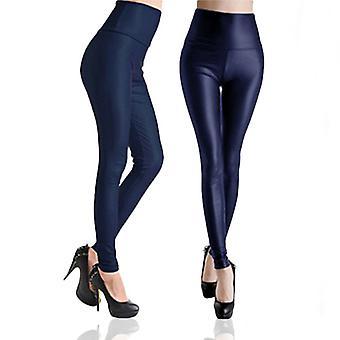 RJM Ladies Faux Leather Wet Look Leggings, High Waist Plum, Navy & Black - NAVY SIZE XS