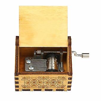 Scatola di musica a tema in legno vintage operata a mano incisa