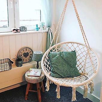 Veilige beige hangende hangmat stoel swing touw outdoor indoor bar tuin stoel