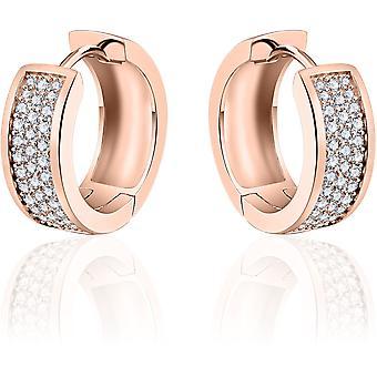 Gisser Jewels - Örhängen - Örhängen med gångjärn - Tillplattade med Zirconia - 7mm Bred - 20mmØ - Rose guldpläterat silver 925
