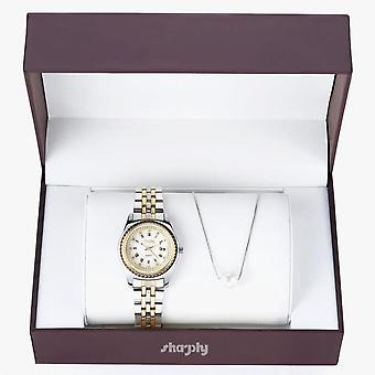 Women Stainless Steel Watch & Pearl Necklace