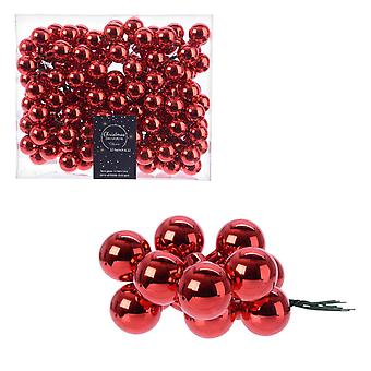 12 2.5cm Metallic Red Glass Berry Picks for Christmas Floristry Crafts
