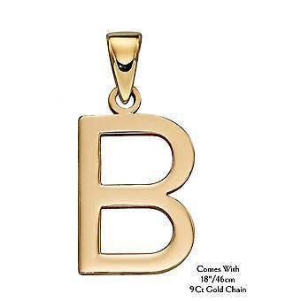 "HS Johnson HSJ-GP2201 Women's 9ct Gold ""B"" Pendant With Chain"