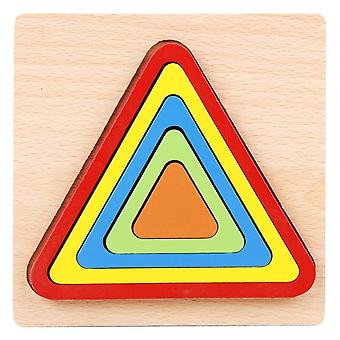 Wooden Baby Educational Toys, Cognitive 3d Puzzles, Suitable For Kindergarten Children-(triangle)