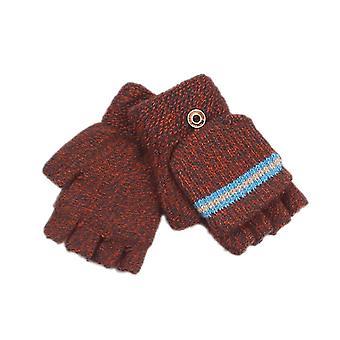 Childrenins Winter Half Finger Knit Gloves Ab-yarn Knit Gloves