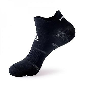Black 2 pack men's cushioned low-cut anti blister running and cycling socks mz901