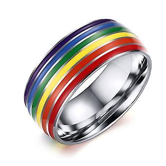 Rostfritt stål emalj Regnbåge Hbt Pride Ring