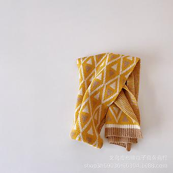 Children's Simple Diamond Lattice Knit Winter Lengthen Personality Clash-color Wool Scarf