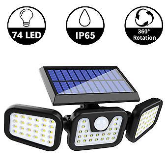 Luces de seguridad solares, 3 luces de sensor de movimiento de cabeza ajustables 74 Led