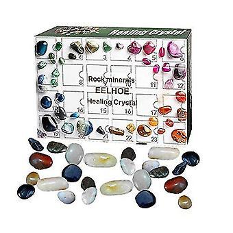 24ks Healing Crystal Stone pro Reiki Healing Crystal Gemstones Set, Vánoční adventní odpočítávání