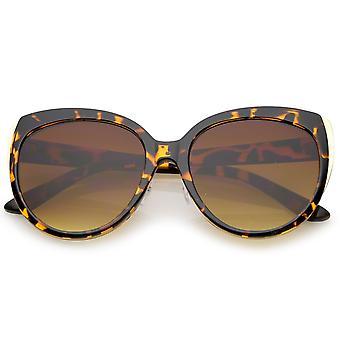 Damen Oversize Metall Trim Runde flache Linse Cat Eye Sonnenbrille 57mm