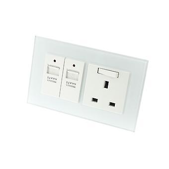 Yo LumoS como lujo blanco cristal doble USB + cambiar zócalos del enchufe 13A Reino Unido