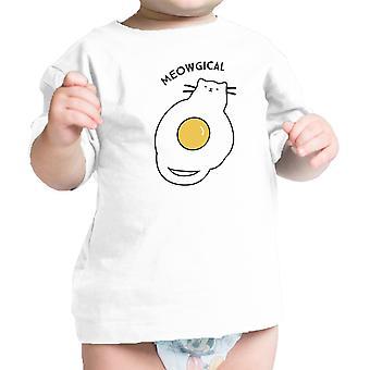 القط ميووجيكال بيبي قميص القطن الأبيض المحملة الرضع الرسم مضحكة هدية