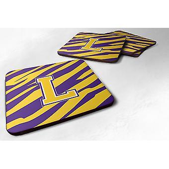 Set of 4 Monogram Initial Tiger Stripe Purple Gold Foam Coasters