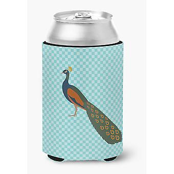 Indian Peacock Peafowl Blue Check Can or Bottle Hugger
