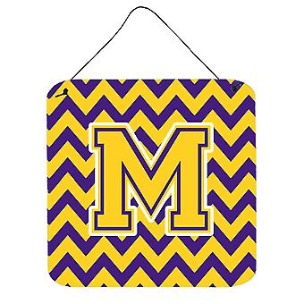 Letter M Chevron Purple and Gold Wall or Door Hanging Prints