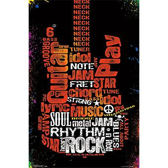 Guitare - typographie affiche Poster Print