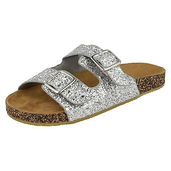 Girls Spot On Glitter Sandals - Silver Glitter - UK Size 13 - EU Size 32 - US Size 1