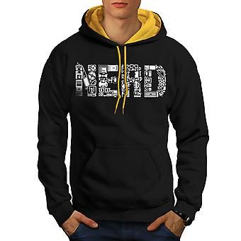 Learn Computer Parts Geek Men Black (Gold Hood)Contrast Hoodie | Wellcoda