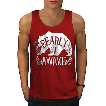 Niedźwiedź Bearly Awake mężczyzn RedTank góry | Wellcoda