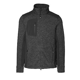 ID Mens Knit Fleece Full Zip Regular Fitting Long Sleeve Melange Sweatshirt