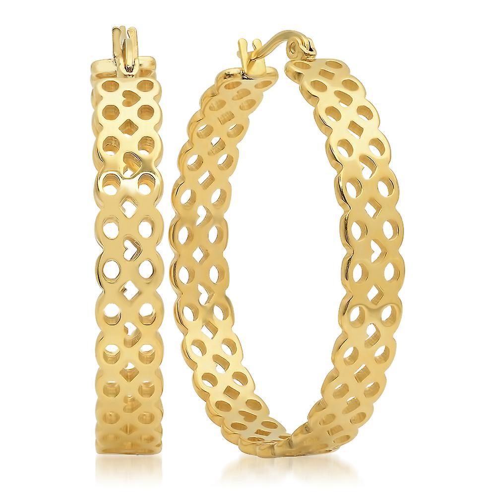 Ladies 18K Gold Plated Stainless Steel Infinity Hoops