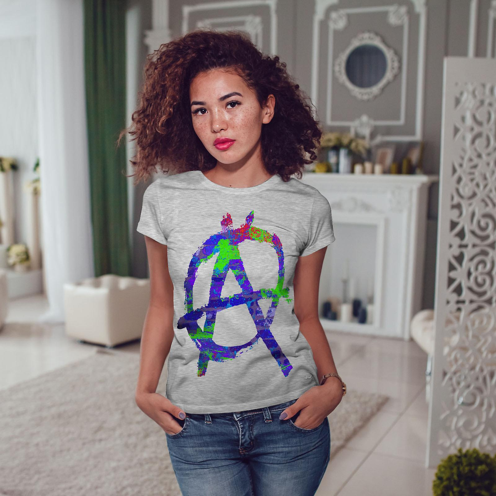Anarchie symbole couleur GreyT-chemise femme | Wellcoda